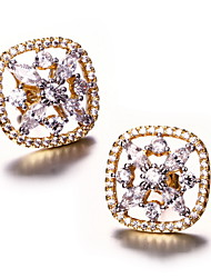 Top Quality square stud earrings Deluxe Prong Setting Cubic Zircon Brass Bridal Earrings Jewelry Lead Free