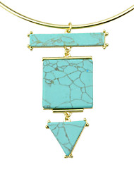 Gold Plated Turquoise Pendant Choker Collar Necklace