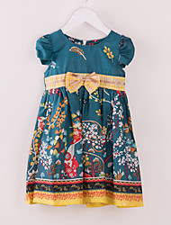 Girl's Green Dress,Floral Cotton Summer