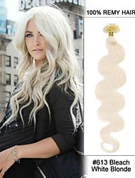 20inch#613 Bleach White Blonde Body Wave Nail Tip U Tip 100% Remy Hair Keratin Hair Extensions-100 strands, 0.5g/strand