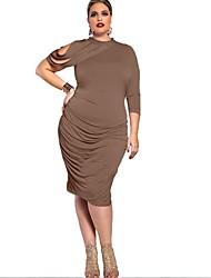 Women's Sexy Solid Sheath Dress , Crew Neck Knee-length Cotton