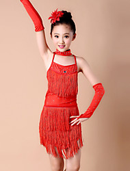 Latin Dance Outfits Children's Performance Spandex / Milk Fiber Tassel(s) 4 Pieces Sleeves / Dress / NeckwearDress length S(110):61cm /