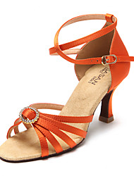 Non Customizable Women's Dance Shoes Latin / Salsa Flocking / Sparkling Glitter Flared Heel