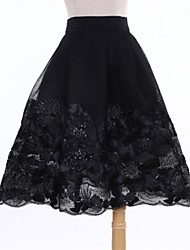 Women's Floral Black Skirts,Casual / Day Above Knee