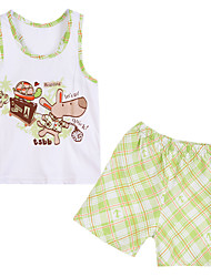 Unisex Cotton Clothing Set , Summer Sleeveless