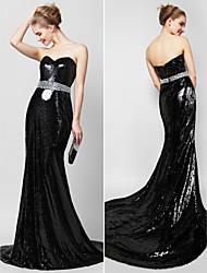 TS Couture Formal Evening Dress - Celebrity Style Trumpet / Mermaid Sweetheart Court Train Sequined with Crystal Detailing Sequins