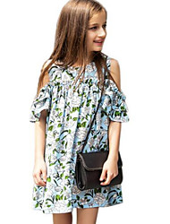 Girl's Green Dress,Floral Cotton Spring