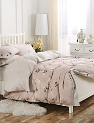 Simple Opulence 100% Cotton Wood Button Floral Printed King Queen Light Pink Duvet Cover Set