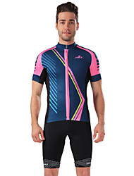 CHEJI Men Sports Biking Comfortable Breathable Short-sleeve Cycling Jersey & Cycling Jersey Pant 3D Padd
