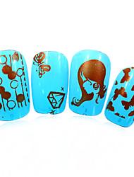 3pcs nieuwe 12x6cm image diy stamping platen nail art templates stencils voor polish xy-L12 (01-32) willekeurige aflevering