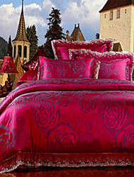 The New Listing Bedding Set Rose Red Floral Duvet Cover Smooth Silky Bed Linen Hot Home Textiles 4Pcs Queen King Size