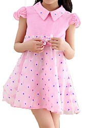 Girl's Blue / Pink / Yellow Dress,Dot / Ruffle Polyester Summer / Spring