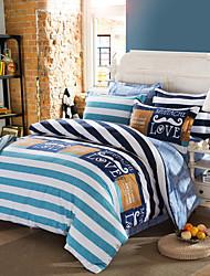 Direct Selling Bedding Set Blue Stripe Home Textiles Plain Printed Duvet Cover Set Fashion couverture de lit 4Pcs Queen