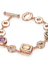 HKTC Personalized 18k Gold Plated Multicolour Austrian Crystal Round Style Gemstone Charms Bracelet