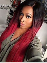 Top Quality Wigs Two-Tone Color 1b/Red Middle Part Long Straight Hair Synthetic Wig.
