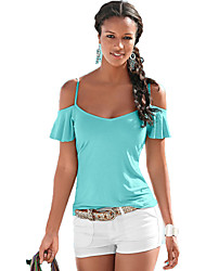 Women's Holiday Sexy Summer Tanks,Solid Strap Short Sleeve Blue Cotton Thin