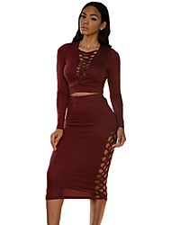 Women's  Lace-up Detail Long Sleeve Midi Skirt Set