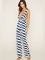Women's Print Multi-color Jumpsuits , Sexy / Holiday Deep V Sleeveless
