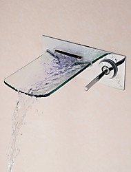 Contemporary Wall Mounted Waterfall with  Ceramic Valve Single Handle One Hole for  Chrome , Bathroom Sink Faucet