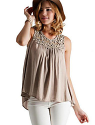 Women's Casual/Daily Street chic Summer Blouse,Solid Round Neck Sleeveless Black / Gray Cotton Medium