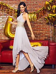 TS Couture® Formal Evening Dress - Silver A-line Jewel Asymmetrical Chiffon