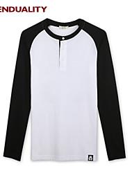 Trenduality® Herren Rundhalsausschnitt Lange Ärmel T-Shirt Weiß - 43270