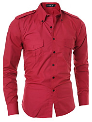 Men's Solid Casual Shirt,Cotton Long Sleeve Black / Red / Gray