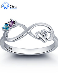 Noble Infinite Love Promise Zircon 925 Sterling Silver Double Stone Ring For Woman&Lady