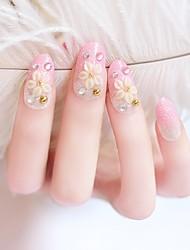 24pcs Glitter Powder dicas rosa unhas flor carving