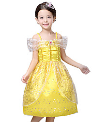 Girl's Yellow Dress , Floral Polyester Summer