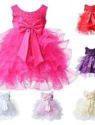 Newborn Infant Girl's Pink/Red/White/Beige/HotPink/Purple BowKnot Polyester Evening Party Dresses for 0~2 Y