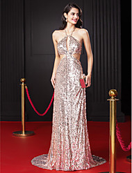 Formal Evening Dress Sheath/Column Halter Sweep/Brush Train Sequined