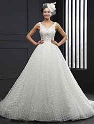 A-line Wedding Dress Chapel Train V-neck Lace with Sash / Ribbon