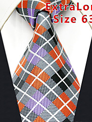 Men's Tie Multicolor  Checked 100% Silk Business  Dress Casual Long