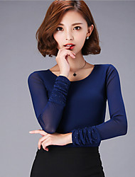 Women's Solid Blue / Black / Purple Blouse , Round Neck Long Sleeve