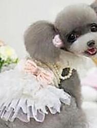Perros Vestidos Blanco / Rosado Ropa para Perro Primavera/Otoño Moda