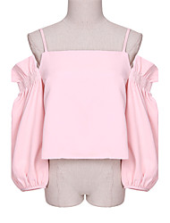 Women's Solid Pink Vest , Halter Long Sleeve