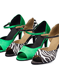 Women's Latin Ballroom Dance Shoes Salsa / Samba Satin Customized Heel Sandals Green / Zebra