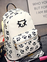 Women PU Backpack-White / Black
