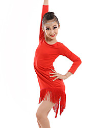 Latin Dance Dresses Children's Performance Spandex / Milk Fiber Tassel(s) 1 Piece DressDress length S(110):63cm / M(120):66cm /