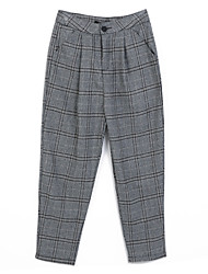 Women's Plaid Gray Loose Pants,Vintage