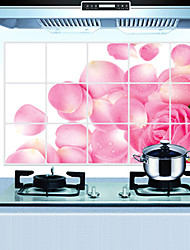 Removable Kitchen Oilproof Wall Stickers with Rose Petal Rain Style Water Resistant Home Art Decals