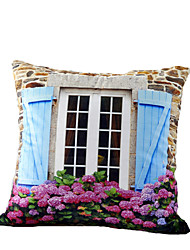 3D Design Print Window Flower Decorative Throw Pillow Case Cushion Cover for Sofa Home Decor Polyester Soft Material