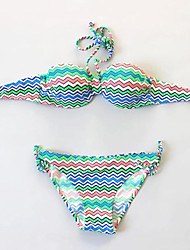 Women's Vintage Colorful Wave Padded Swimwear