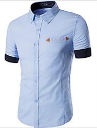 Men's Short Sleeve Shirt , Cotton Casual Print