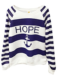 Women's Striped White Hoodies , Vintage Round Neck Long Sleeve