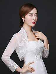Wedding  Wraps Shrugs 3/4-Length Sleeve Lace / Organza Ivory Wedding / Party/Evening Appliques / Lace Open Front