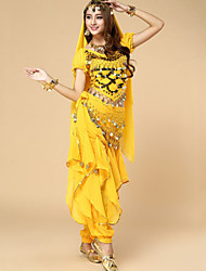 Belly Dance Outfits Women's Performance Chiffon Sequins 3 Pieces Short Sleeve Dropped Top / Hip Scarf / Pants 50-90