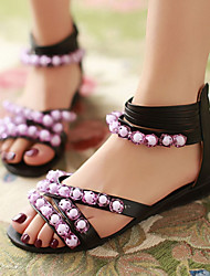 Zapatos de mujer-Tacón Bajo-Cuñas / Punta Abierta-Sandalias-Exterior / Vestido / Casual-Semicuero-Negro / Beige / Naranja