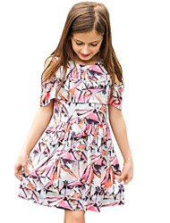 Girl's Pink Dress,Floral Cotton Spring